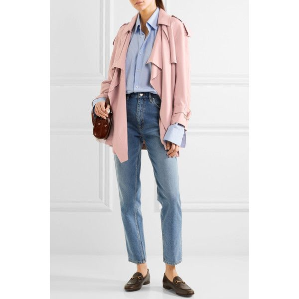 Burberry Draped slub silk jacket (14.395 NOK) ❤ liked on Polyvore featuring outerwear, jackets, military style jacket, burberry trenchcoat, waterfall trench coat, burberry jacket and military jacket