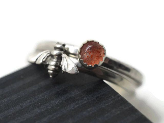 Handmade Sunstone & Silver Bee Stacking Ring Set of 2