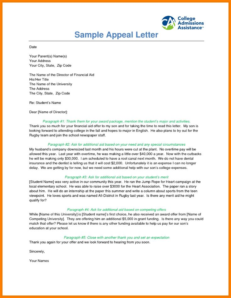 Financial Aid Reinstatement Appeal Letter Example Case