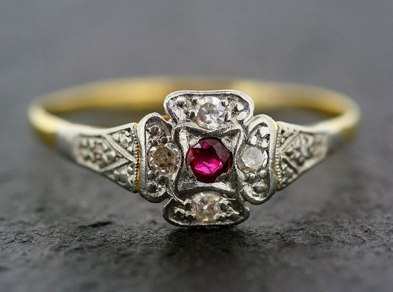 engagement ring in gemstone ruby rings gold carat white gem accent