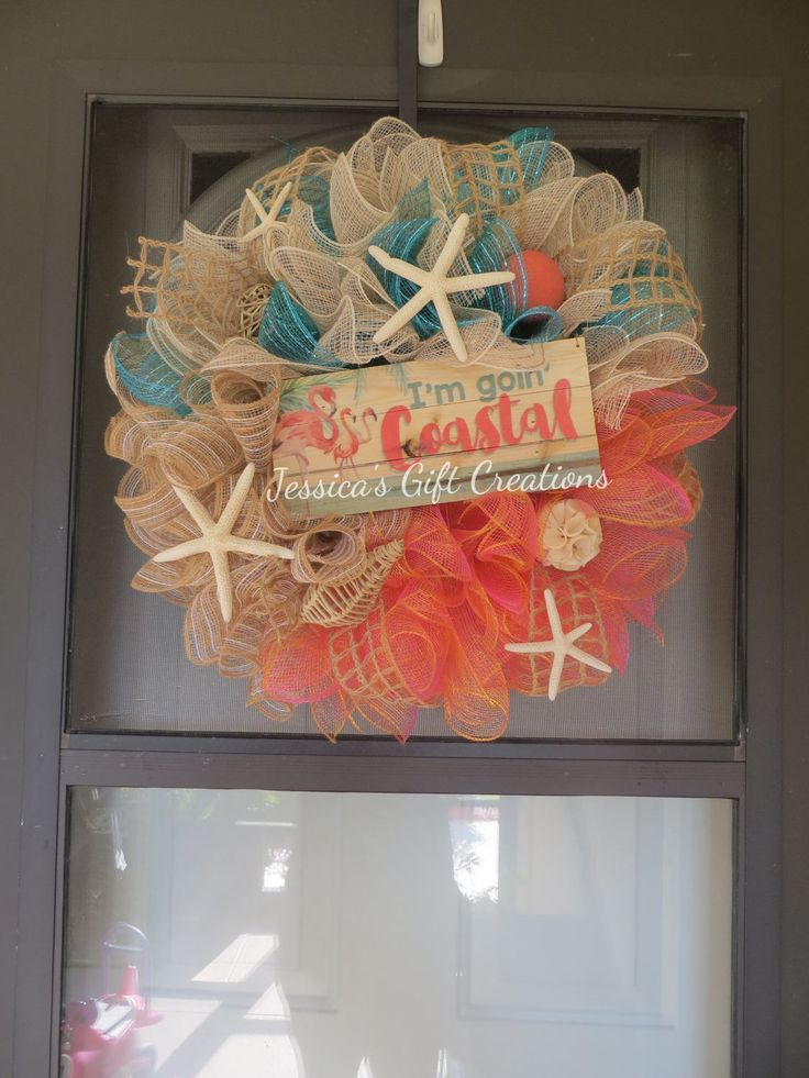 Made to Order Coastal Wreath/Deco Mesh/Handmade Wreath/Door Decor/Door Wreath/Beach Wreath/Flamingos/Summer Wreath/Sea Life/Perfect Gift by JessicasGCreations on Etsy