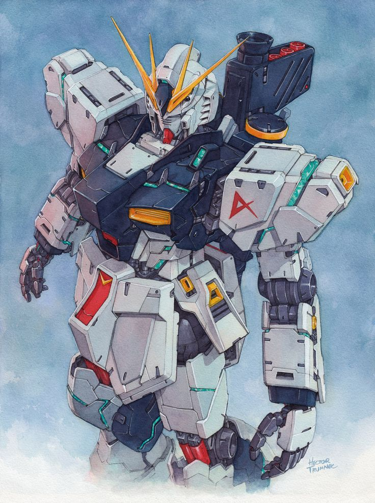 """hectortrunnec: """" Nu Gundam watercolor illustration Prints available here: https://society6.com/product/nu-gundam-watercolor_print#1=45 """""""