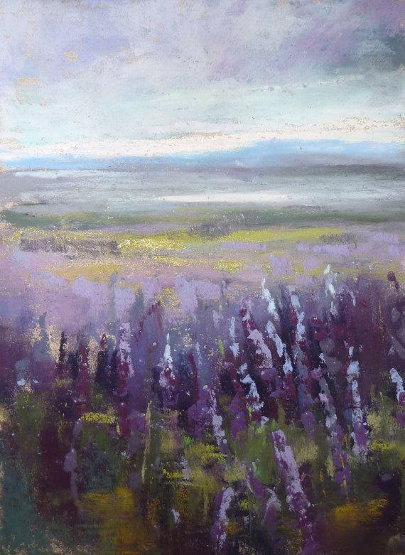 ICELAND Art Plein air Landscape Lupines by KarenMargulisFineArt, $50.00