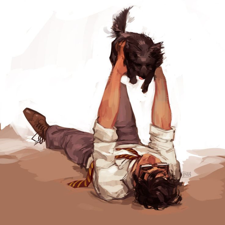 James Potter (art trade) by artofpan.deviantart.com on @DeviantArt. Not sure if he's playing with a little Padfoot or his own dog??