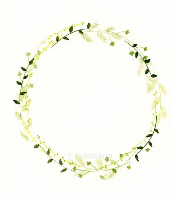 Wreath, by Paloma Navio Following Botanical Watercolour Wreath Tutorial here: http://masteringwatercolours.org/1/post/2015/11/new-wreaths.html