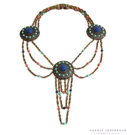 Festooned Egyptian revival necklace with turquoise, coral and blue beads and carved cabochons.  Available at our online shop! http://www.caroletanenbaum.com/shop-online ‪#‎vintagecostumejewelry‬ ‪#‎ctvc‬