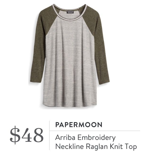 Papermoon Arriba Embroidery Neckline Raglan Knit Top