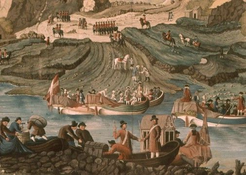 Utsnitt frå biletet av kongereisa over Mannseidet. Fleire båtar med fint folk ligg til lands. Heile biletet er svært rikt på detaljar, t.d. i dette utsnittet, to personar som handhelsar.