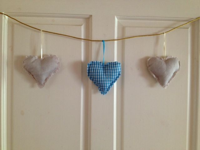 String of hearts....beige and blue gingham