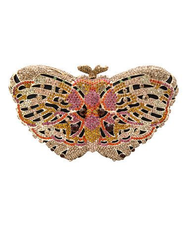 This Gold & Pink Crystal Butterfly Clutch is perfect! #zulilyfinds