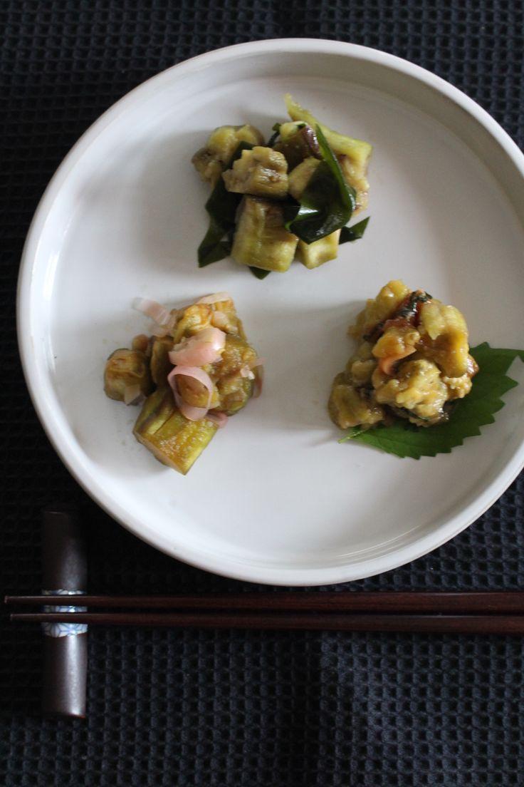 なすの和え物3種 by 貞本紘子(colette) / なすはレンチンで簡単に~和えるだけなので3種一気にのせちゃいます。夕ご飯のあと1品に、レパートリーが広がりますよ★ / Nadia