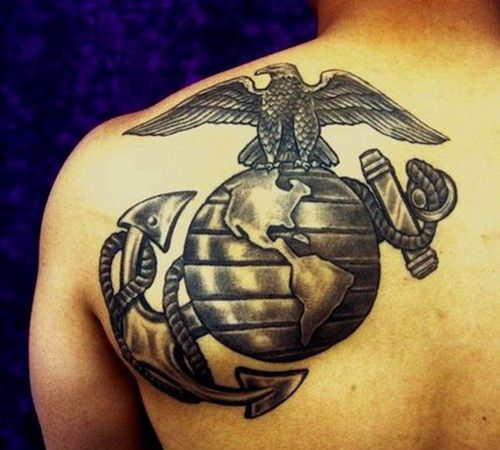 Black Marine Corps Tattoos Design - I really like this. I just wouldn't want it so big.