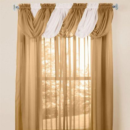 Amazon Com Brylanehome Sheer Voile Toga Valance Window