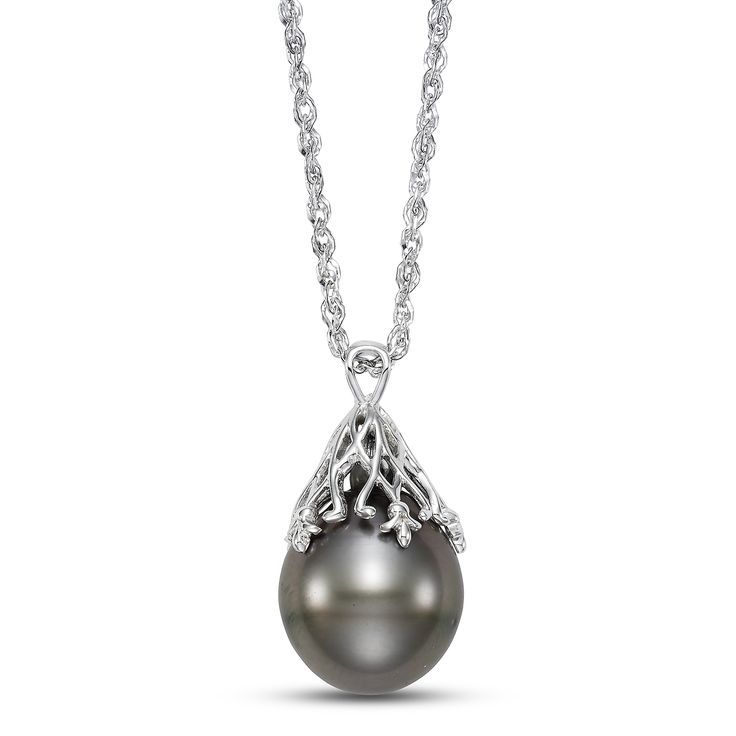 Large, baroque Tahitian pearl neck on 18k white gold chain
