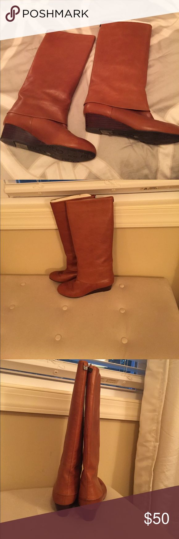 Camel riding boots Camel leather riding boots with small brown wedge heel RUDSAK Shoes Heeled Boots