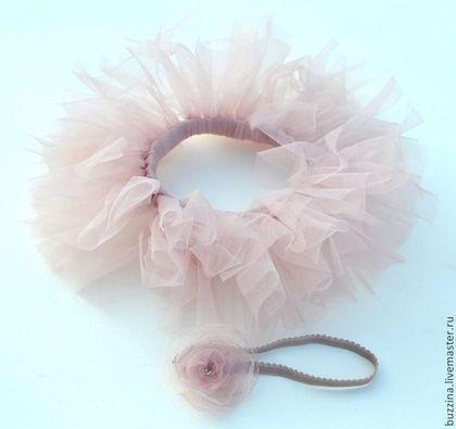 Одежда для девочек, ручной работы. Юбочка пачка туту для фотосессии + повязочка Пыльная роза. БУЗИНА шапочки для фотосессии. Ярмарка Мастеров.