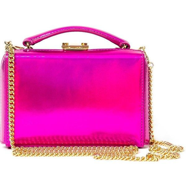 Mark Cross Mini 'Grace' Box Clutch ($2,195) ❤ liked on Polyvore featuring bags, handbags, clutches, pink, leather clutches, pink leather handbag, real leather purses, pink purse and mini leather handbags