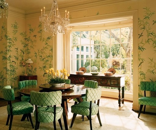"""The George I oak sideboard in the bay window of the formal dining room displays several of the Kayes' Chinese Export porcelain tureens and stands. The room was """"usually used for big parties and sometimes for dessert after dinner in the Chinese kitchen,"""" says Dena Kaye."""