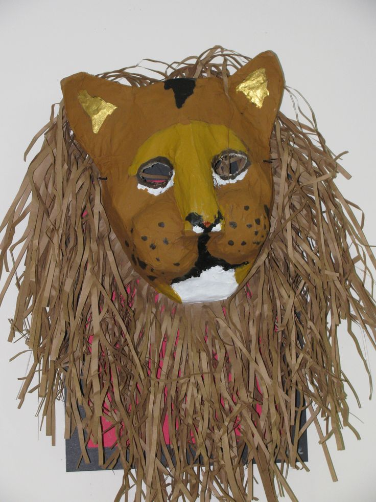 3rd grade paper mache lion mask; lesson designed by art teacher, Susan Joe