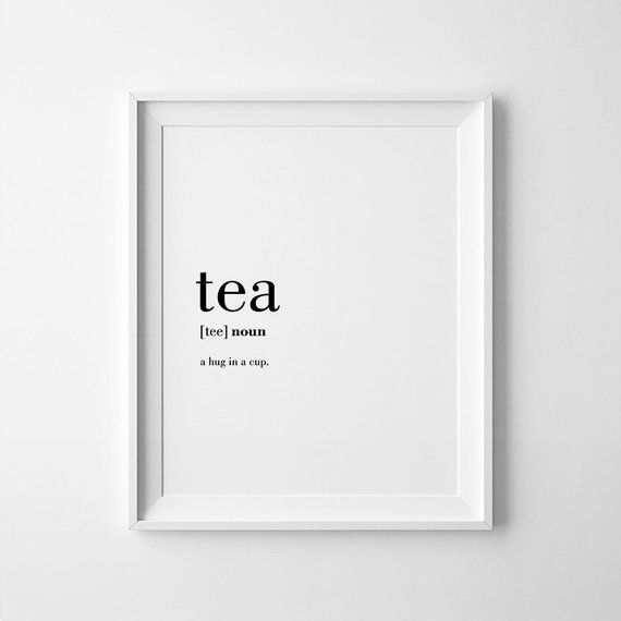Tea Poster, Tea Definition, Wall Decor, Tea Lover Gift, Definition Posters, Digital Download, Tea Printable, Tea Gifts, Definitions