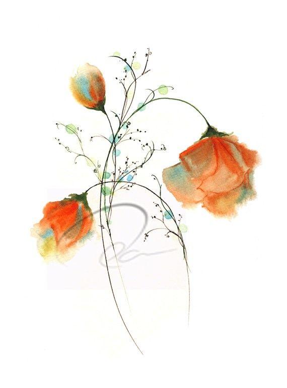 Espressione fedele - acquerello Art Print Rose rosse fiori bouquet romantico San Valentino regalo anniversario 5 x 7 11 8 x 10 x 14 16 x 20 Oladesign