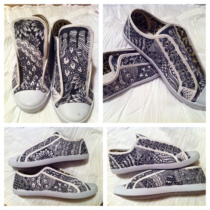 Hand decorated Bespoke zentangle shoes, daps, sneakers.