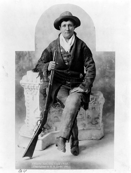 """August 1, 1903: Death of Martha Jane Cannary, better known as Calamity Jane. Most of what we know of Jane we know from her autobiography -- which may not all be true. We do know she worked in the West as a cook, ox team driver, dance hall girl, Indian scout, and nurse -- and that she loved Bill Hickok with a passion that bordered on obsession. She lies buried at Mount Moriah Cemetery next to Wild Bill, """"the only man she ever loved."""""""