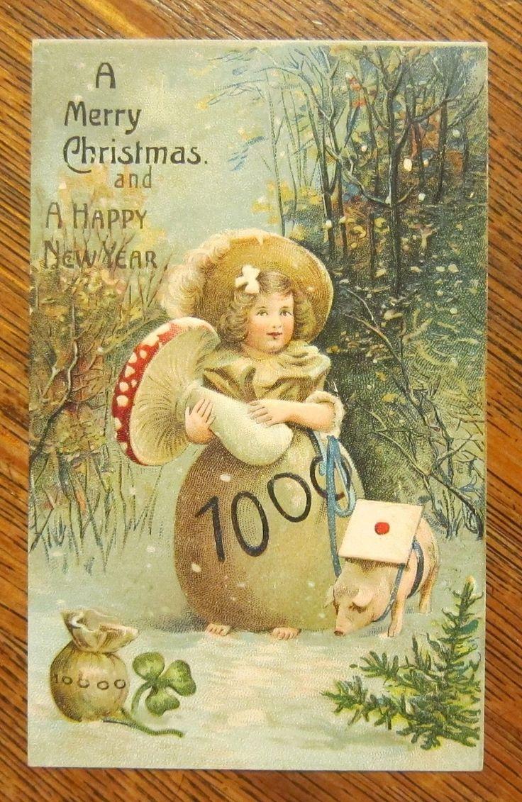 Fantasy Girl Sack of Money Dress Holds Mushroom Antique Vintage 1911 Postcard | eBay