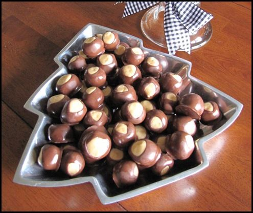Another recipe for buckeyes.  This one seems to be easier to to dip but it is because the chocolate has wax in it and I am not sure how I feel about that.