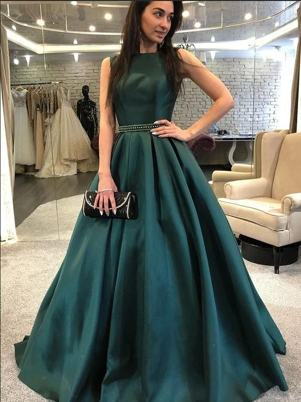 Elegant Prom Dress, A-Line Sleeveless Bateau Neck Dark Green Satin Long Prom Dress