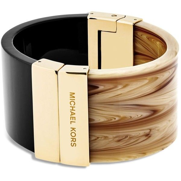 Michael Kors Color Block Hinge Cuff ($145) ❤ liked on Polyvore featuring jewelry, bracelets, accessories, tan, michael kors, cuff jewelry, cuff bangle, michael kors bangle and hinged bangle