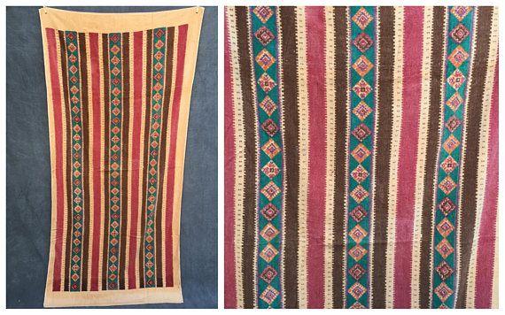 80's Beach Towel Southwestern Tribal Art Towel  XL Size