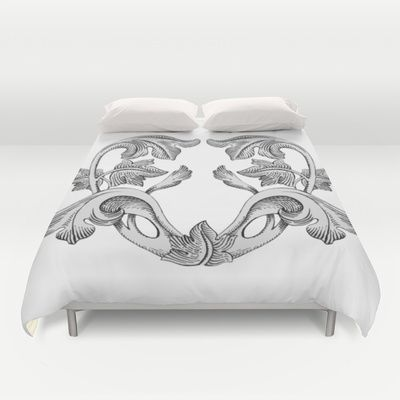 GREAT LOVE B & W Duvet Cover by Chicca Besso - $99.00