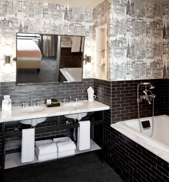 Bathroom, The Nice Design Of The Bathroom Tile Ideas For Small Bathroom  With The Gray Stone Wall Also The Black Floor With The White Rectangle  Bathtub And ...
