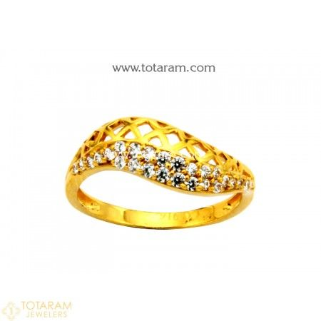 22K Gold Ring For Women with Cz  - 235-GR4121 - Buy this Latest Indian Gold Jewelry Design in 2.550 Grams for a low price of  $163.20