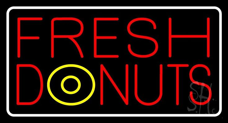 Fresh Donuts Neon Sign 20 Tall x 37 Wide x 3 Deep, is 100% Handcrafted with Real Glass Tube Neon Sign. !!! Made in USA !!!  Colors on the sign are Red, White and Yellow. Fresh Donuts Neon Sign is high impact, eye catching, real glass tube neon sign. This characteristic glow can attract customers like nothing else, virtually burning your identity into the minds of potential and future customers. Fresh Donuts Neon Sign can be left on 24 hours a day, seven days a week, 365 days a year...