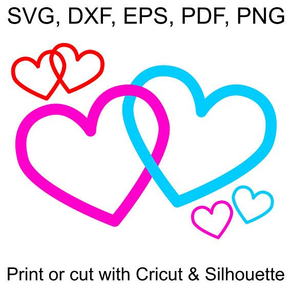 valentines day print heart Silhouette and Cut files heart svg two heart png heart driving love digital file Heart digital file