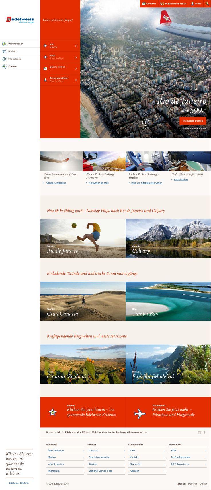 Edelweiss startet online durch  #webdesign #hinderlingvolkart #design #indentity #ux #ui  flyedelweiss.com