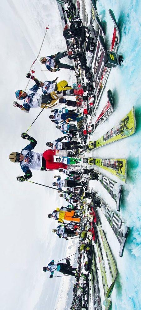 Slovenia hosts Red Bull Home Run - a mass-start 'Chinese Downhill' ski race. Image: Janez Kocbek http://win.gs/OEGyrh #ski #slovenia #homerun