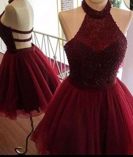 Burgundy tulle sequin short prom dress, cute homecoming dress, backless short formal dress 2017, prom picture