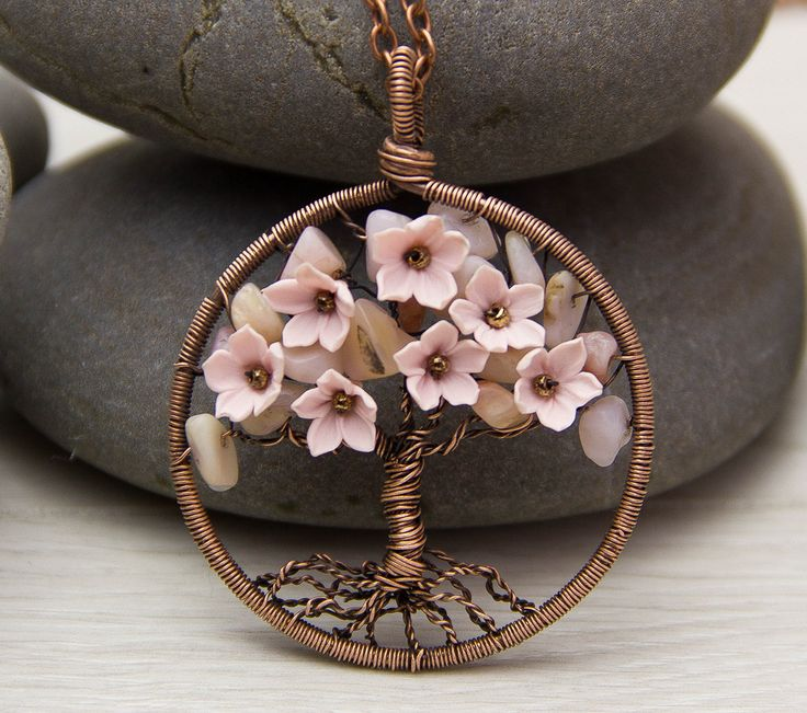 """Tree-Of-Life Necklace Pendant 1.8"""" Copper Wire Wrapped Pendant Brown Wired Copper Jewelry Wire Wrapped ModernTree  Pink Opal Necklace Rustic by JewelryFloren on Etsy https://www.etsy.com/listing/272264106/tree-of-life-necklace-pendant-18-copper"""
