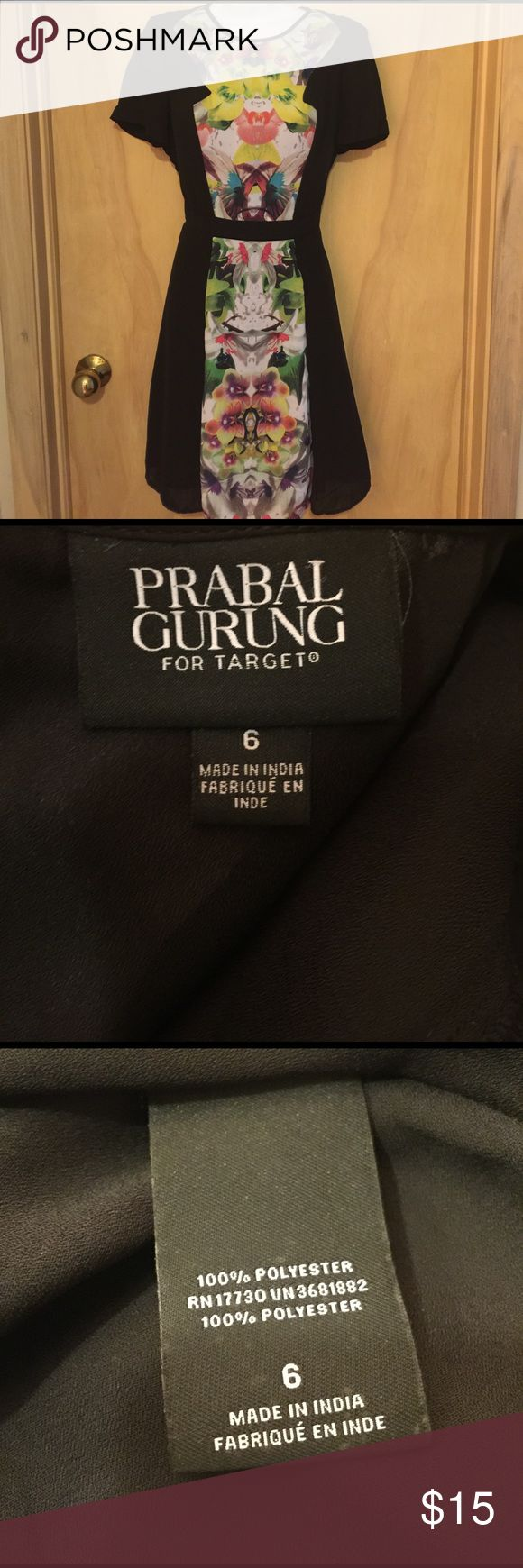 Prabal Gurung Dress sz 6 Prabal Gurung for Target sz 6 dress. Main part of dress is black with a colorful flower design down the middle. The last picture shows one loose thread on back of dress which can be fixed. Prabal Gurung for Target Dresses