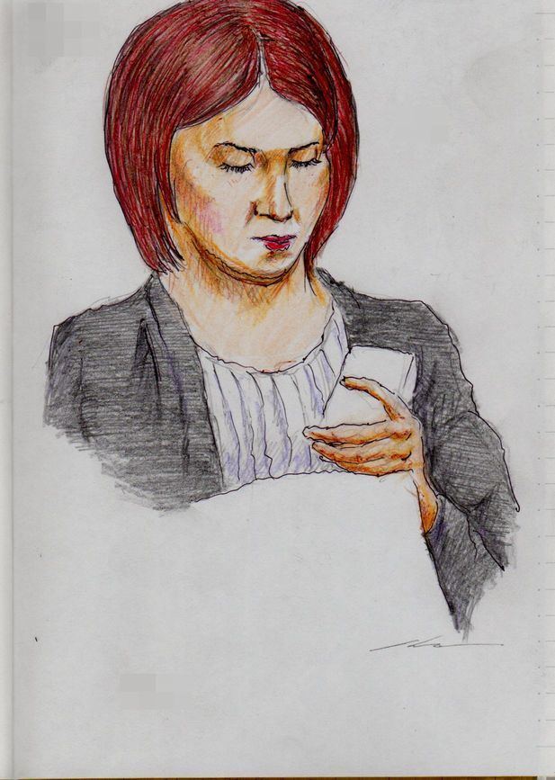 赤茶色の髪のお姉さん(通勤電車でスケッチ)It is a woman's sketch of the red hair. It drew in a commuter train.