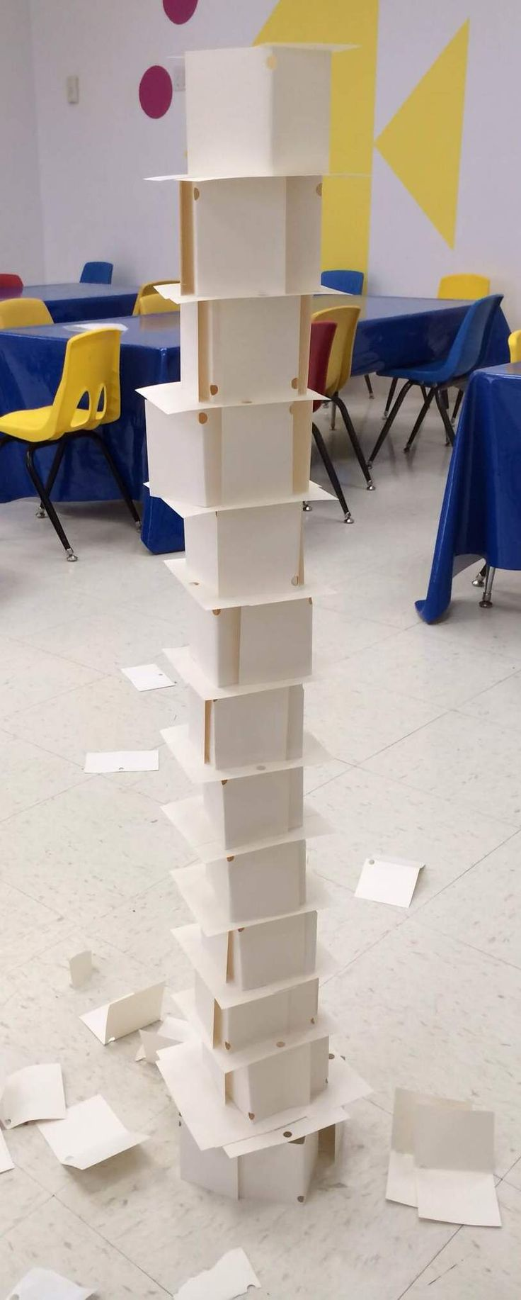 Index Card Towers: See how tall a freestandingtower you can build using just index cards (folding, tearing, crumpling, etc.) without using any scissors, tape, glue.