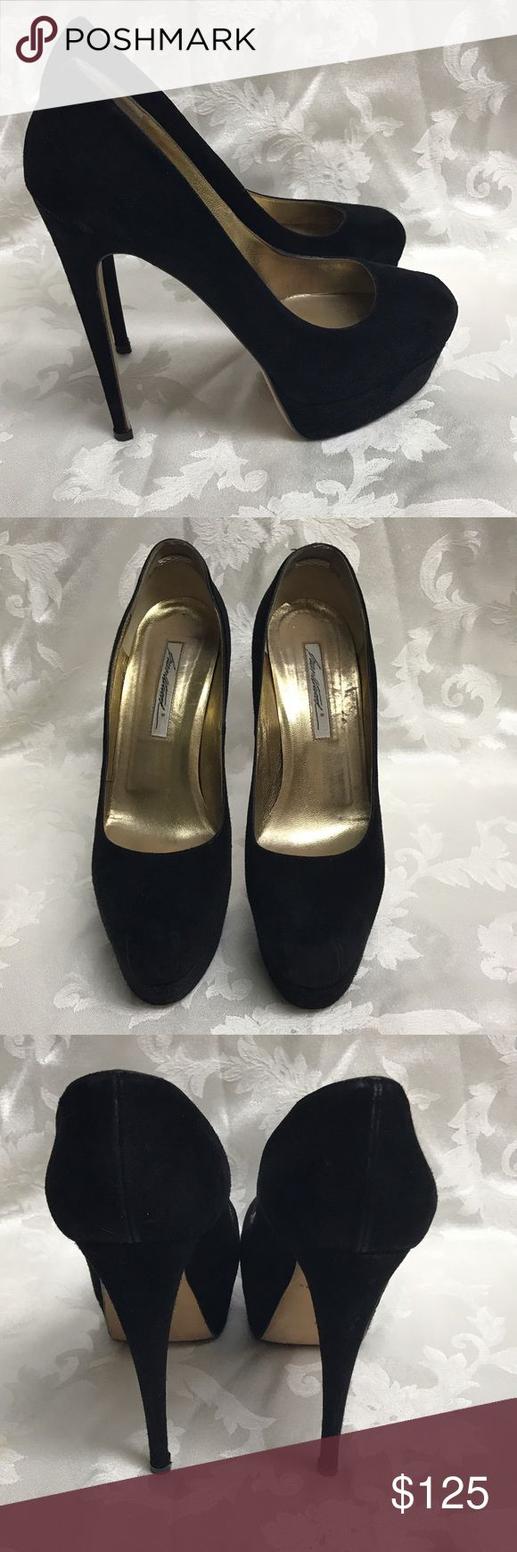 Brian Atwood Hamper Black Suede Made in Italy, many celebrities have donned the Brian Atwood Hamper.  These are amazing shoes.  They have been worn a few times.  New heel taps put on professionally.   Size 41 fits US 11. Brian Atwood Shoes Heels #brianatwoodheelsfashion