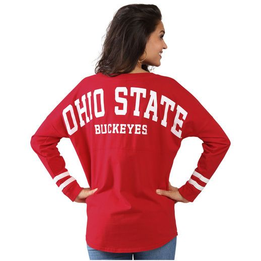 Ohio State Buckeyes Women's Scarlet Ohio State Cheer Long Sleeve Jersey T-Shirt