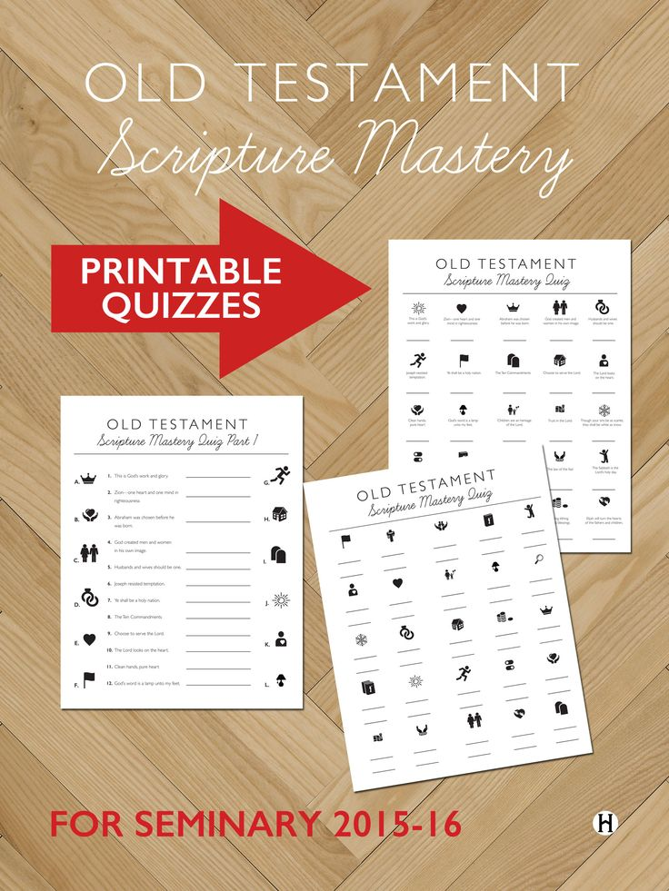 Old Testament Scripture Mastery Quizzes for Seminary