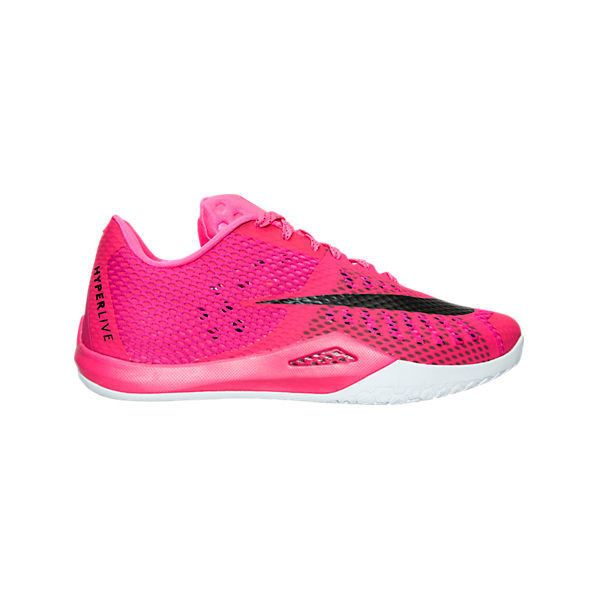 Nike Men's HyperLive Basketball Shoes ($70) ❤ liked on Polyvore featuring men's fashion, men's shoes, men's athletic shoes, pink, nike mens shoes, mens lace up shoes, pink mens basketball shoes, mens shoes and mens leather lace up shoes