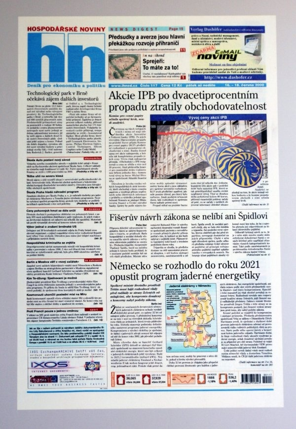 16.6.2000 - Akcie IPB se přestaly obchodovat na burze