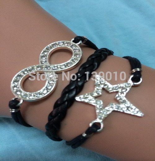 Бирюзовый плетеный черная кожа веревка хрустальная звезда бесконечность манжеты браслеты браслеты мода винтаж женщин мужчины мужская драгоценности